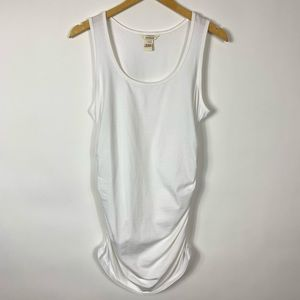 Sundance L White Ruched Sides Tank Top